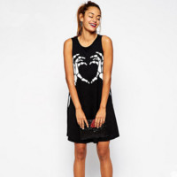 Fashion Casual Skeleton Fingers Print Sleeveless Loose Vest Mini Dress