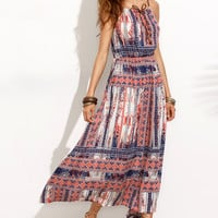 Print Flowy Strappy Dress 11764