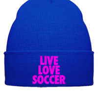 live love soccer embroidery hat - Beanie Cuffed Knit Cap