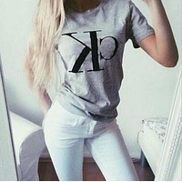 Leisure Letters Print Short Sleeve T-Shirt