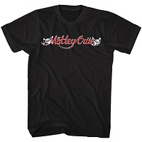 Motley Crue Red and White Logo Adult Black Tall Shirt