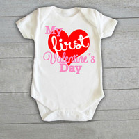 My First Valentine's Day Baby Onesuit Newborn CHOOSE any COLOR valentine outfit heart love