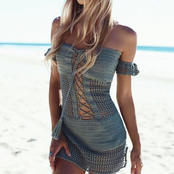 Slim Sexy Hollow Out Knit Beach Blouse One Piece Dress [11774722074]