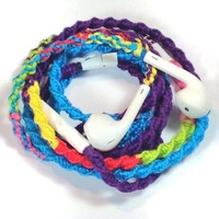 MyBuds Wrapped Tangle-Free Earbuds for iPhone | NEW 80's Retro Remix Deux | with Microphone and Volume Control