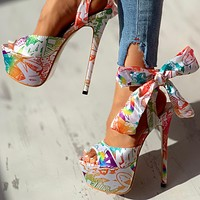 Sexy Shoes Print Super Thin High Heels Shoes Sandals Women Party Platform Ankle-wrap Woman Sandals Female