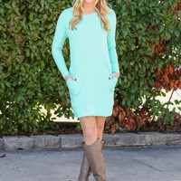 Spring in Your Step Sweatshirt Dress - Mint