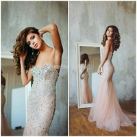 Wholesale Product Snapshot Product name is 2015 New Fashion Mermaid Prom Dresses Evening Dress Tulle Beaded Sweetheart Long Elegant Formal Gown