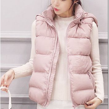 Explosive style hot sale fashion short style slim down vest[Detachable hat]