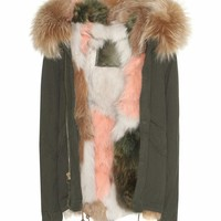 London Mini fur-lined cotton parka with fur-trimmed hood