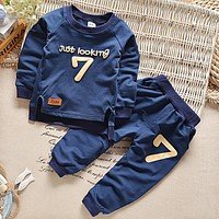 2016 Spring Baby Boys Clothing set Casual Sport Letters Tracksuit Infant Toddler Girls Clothes Top T shirt + Pants