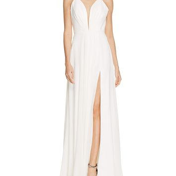 Faviana CoutureSleeveless Illusion V-Neck Gown