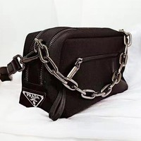 Prada New fashion nylon couple chain shoulder Black