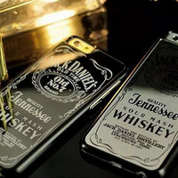Jack Daniels Whiskey Hard Silver or Black Chrome Mirror iPhone Case