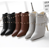 Rivet Wrap Pointed Toe High Heel Buckle Boots