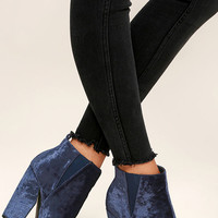 Dash Navy Blue Velvet Ankle Booties