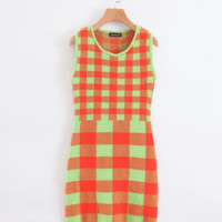 Autumn plaid knit sleeveless dress
