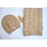 "Tiktoki1 ""UGG"" Autumn Winter Popular Women Men Knit Warmer Hat Cap Scarf Two Piece Set Khaki"