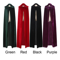 Adult Witch Long Purple Green Red Black Halloween Cloaks
