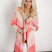 Color Block Sweater Coral/Taupe