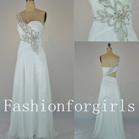 Sweetheart One Shoulder with Beading Chiffon Long White Prom Dresses from fashionforgirls