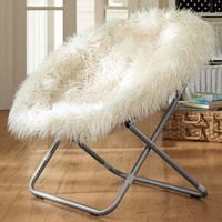 Ivory Furlicious Faux Fur Hang-A-Round Chair