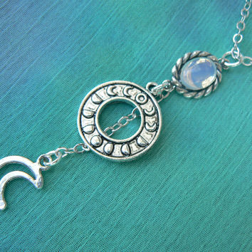 moon necklace, moon phase necklace, moon goddess necklace, opal necklace