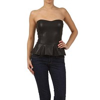 Sexy Sweetheart Neckline Strapless Faux Leather Cropped Peplum Frill Tube Top