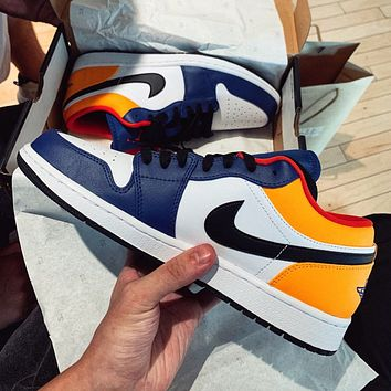 NIKE Air Jordan 1 AJ1 new product stitching color men's and women's low-top sneakers casual shoes
