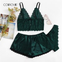 COLROVIE Army Green Sexy Floral Lace Cami Lingerie Set 2018 New Burgundy Women Bra & Brief Sets Wireless Sexy Underwear Bra Set