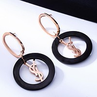 YSL Yves Saint Popular Women Stylish Circular Pendant Earrings Accessories Jewelry