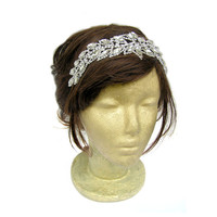 Great Gatsby Leaf Wedding Headpiece 20s Headband Vintage Wedding Headband Bridal Rhinestone Hairpiece Art Deco Flapper Headband