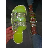 New large size sandals women hot beach shoes flat bright diamond slippers