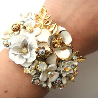 Bridal cuff bracelet - wedding jewelry in ivory white and gold - vintage shabby chic flowers wrist corsage