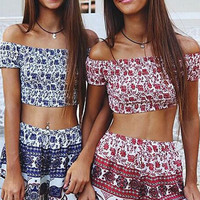 Elephant Printed Off-Shoulder Crop Top and Shorts Set