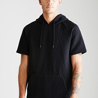 Abstract-Quilted Drawstring Hoodie