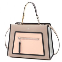 Fendi Shopping Bag Runaway Calf Dove Soap Pearl Gray Beige Two Toned Tote Handbag 8BH344
