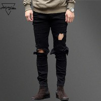 spbest Aelfric Eden Hi-Street Men Knee Eversion Ripped Big Hole Men Jeans