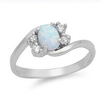 Sterling Silver Oval Created White Opal Ring (Size 5 - 10) - Size 9