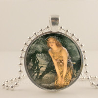 Fairy fantasy glass and metal Pendant necklace Jewelry. Fine art.