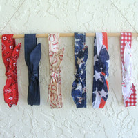 Six The Skinny Headbands American Flag Baseball Bandanna Jean July Fourth Teen Women Hair Accessory