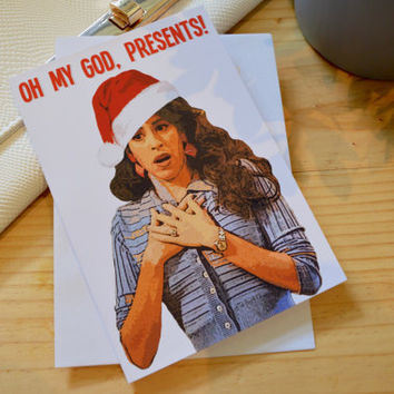 Friends TV Show Janice Quote Christmas Card - Oh My God Presents Santa Hat Xmas Card Funny