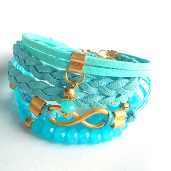 Jewelery, Bracelet, Baby Blue, Aqua, Summer, Women Jewelry, Fashionable, Gypsy, Blue Suede Leather Bracelet, İnfinity, Stylish, Gold Plated