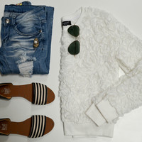 A Rose By Any Other Name White Rose Lace Sweater