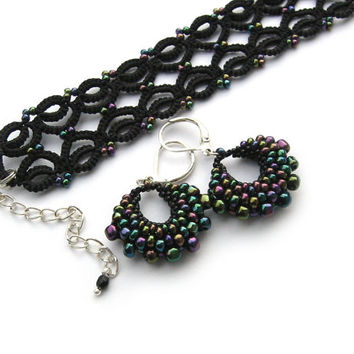 Nebula stars set bracelet and earrings. Black tatted lace bracelet with AB beads in two sizes. Gothic style lace set.