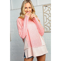 Peach Two Tone Ribbed Out Seam Stitch Top