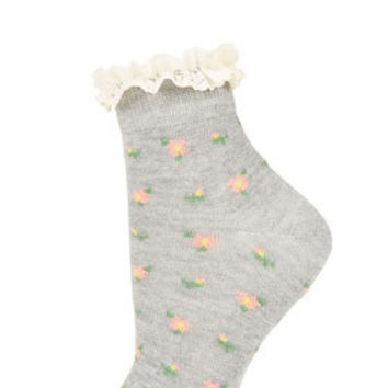 Grey Floral Ditsy Ankle Socks - Ankle Socks -Tights & Socks- Bags & Accessories