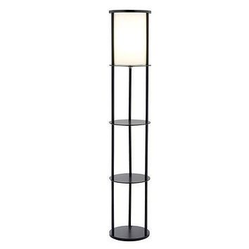 Modern Asian Style Round Shelf Floor Lamp in Black with White Shade