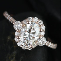 Cubic Zirconia Engagement Ring- Oval Cut Halo with Three Stone Accents
