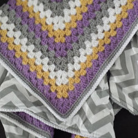 Granny Square Baby Blanket or Toddler Blanket Fabric Lined Chevron