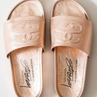 Stussy, SS Link Women's Slide Sandals - Rose Gold - Footwear - MOOSE Limited